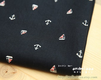 Nautical Marine, Red and White Anchor Sailing Sailor's Boat On Dark Blue- Japanese Cotton Fabric (Fat Quarter)
