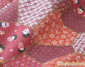Japanese Traditional Festival Doll Cherry Blossom Asanoha Floral Patchwork- Thin and Light Weight Cotton Fabric (Fat Quarter)