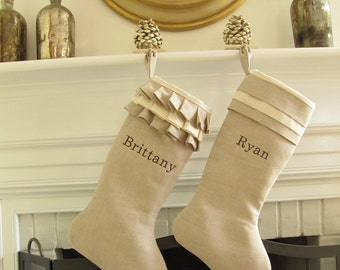 Christmas Stocking Personalized Pair Embroidered Name Linen Monogram Wedding Gift Better Homes and Gardens