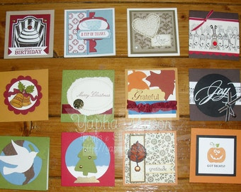 """Set of 12 Mini Cards, 3""""x3"""" Assorted Holidays and Occasions"""