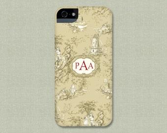 Phone Case Monogrammed Toile iPhone Case, iPhone 7, 6S, SE, Galaxy S8,  Case iPhone 7 Plus Case