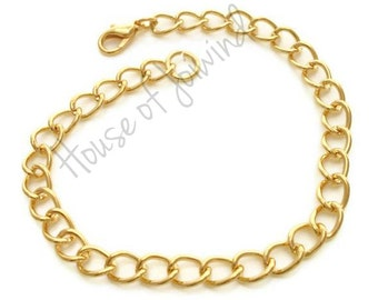 Lot of (5) GOLD Plate Curb Chain Charm Bracelet 7.5-8.5 inches