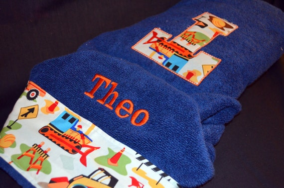 Personalized Hooded Infant / Child Towel - Choose your towel color and fabric trim