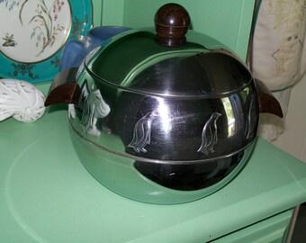 Mid Century Chrome Penquin Ice Bucket with Bakelite Handles