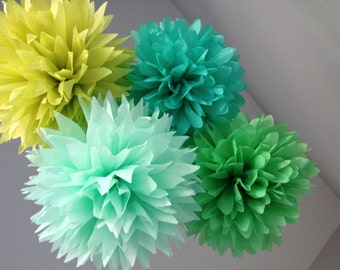 10 Tissue Paper Pom Poms - Caribbean Blue Mint Green - Decoration Party DIY Kit - BBQ Party - Icicle Pistachio Baby shower Gender Reveal