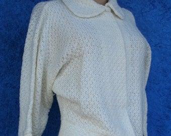 Vintage 50s 1950s 60s Mad Men Kerry Brooke Orlon Open Cardigan Sweater So Soft L