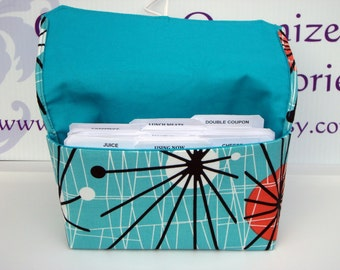 Coupon Organizer Wallet Cash Budget Organizer Holder- Attaches to your Shopping Cart -Turquoise Atomic with Turquoise Lining