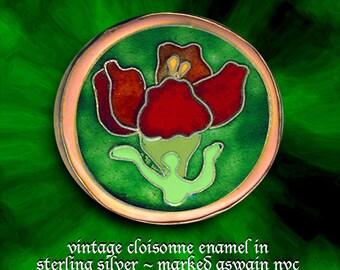 Brooch~Vintage Color Rich Cloisonne Enamel Red Flower in Sterling Silver ~ Signed