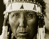 Red Bird, Professionally Restored Vintage Native American Photograph Reprint of Cheyenne Man by Edward Curtis