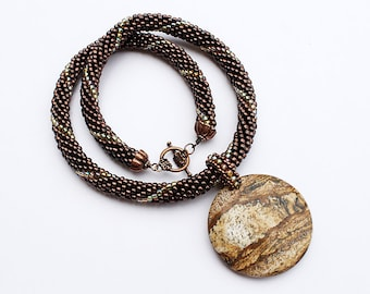 Dark Bronze Beaded Necklace with Picture Jasper Pendant
