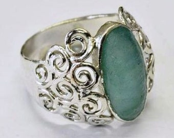 Sterling silver Ring combined with Roman glass  designer  jewelry Israeli Rings