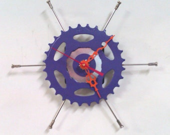 Recycled Bicycle Sprocket & Spoke Wall Clock - Purple