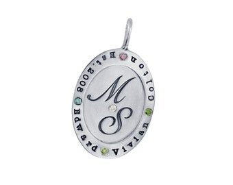 Silver Name Necklace Personalized Family Name and Initial Rimmed Oval Birthstone Pendant Custom Hand Stamped Engraved Handmade Mom Jewelry