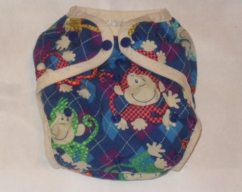Monkey Argyle One size PUL diaper cover