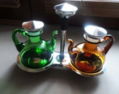 Vintage Oil and Vinegar Set in Moss Green and Amber Glass