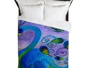 Peacock Duvet Cover from my art. Available in twin,queen and king sizes