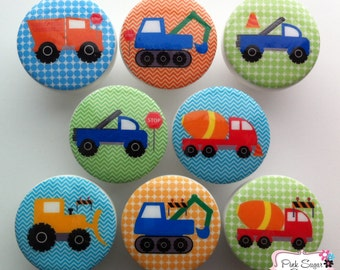 CONSTRUCTION TRUCKS KNOBS boys drawer pulls Kids Nursery Room decor kids art cement dump truck bulldozer chevron dots blue green orange