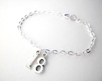 Custom numbers bracelet, charm bracelet, birthday age gift, numbers jewelry