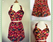 Swell Dame women 2 piece set  playsuit high waisted shorts & bustier top with apples novelty print / Made to measure