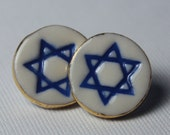 Star of David Earrings Handmade Ceramic Porcelain Jewelry