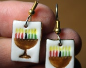 Kwanza Dangle Earrings Handmade Porcelain Ceramic Jewelry