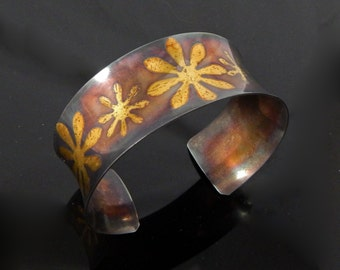 Budding - Anticlastic Keum Boo Flower Cuff