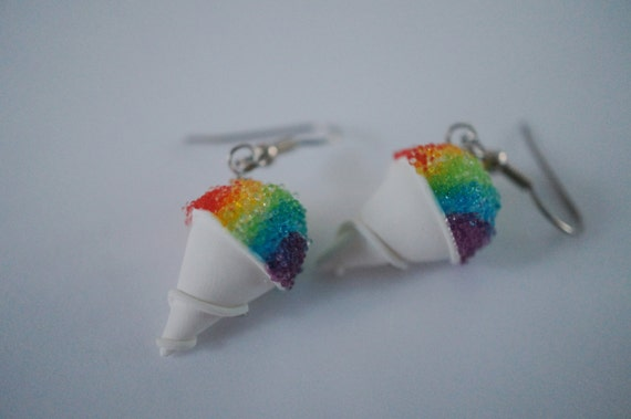 Rainbow Snow Cone Earrings, Miniature Food Jewelry Dangle Earrings, Polymer Clay Food Earrings