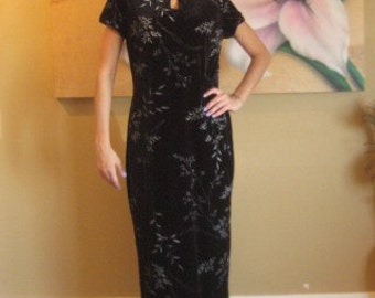 Vintage maxi dress black velvet Cheogsam with silver accents