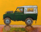 191 Landrover Defender  - signed and numbered giclee print - 27 x 27 cm / 10.5 x 10.5 inch