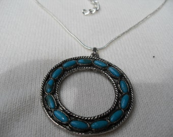 Circle Pendant on Sterling Chain with Faux Turquoise Stones Set  into Circle Vintage 70s