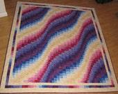Batik Wavy Bargello Lap Quilt