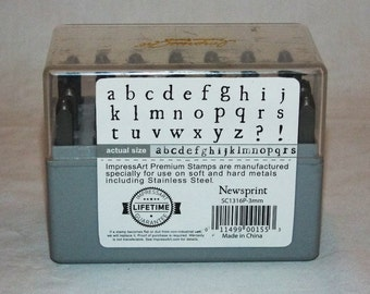 Premium Newsprint Lower Case Letter Stamp Set 3mm Designed For Stainless Steel