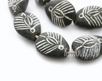 Handmade Old African Clay Handmade Focal Beads 35x27x15 mm Dark brown Insect, spider Motif