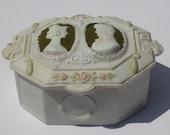 Vintage Early Jasperware Handmade Cameo Trinket Box Art Deco Romance