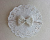 Lace Fabric Bow Headband - Ivory/Cream Fabric Headband - Perfect for Baptism and Newborn Photography