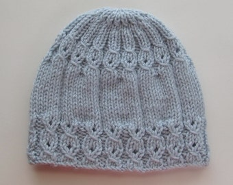 Knitting Pattern #114 Blue Hat with Mock Cables for a Lady