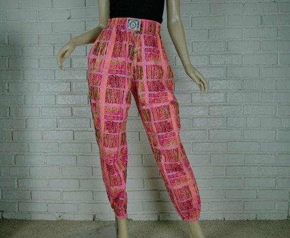 Neon Parachute Pants Mens Baggy Harem Pans In Hot Pink Grid
