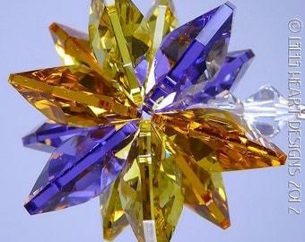 M W Swarovski Crystal Aurora Borealis Suncatcher Lily
