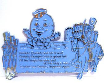 1969 Plastic Humpty Dumpty Nusery Rhyme Vintage Wall Hanging Blue