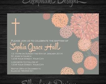 Orange Floral Baptism Invitation, christening, first communion, Gray, flower, dahlia, custom invite, digital file, you print