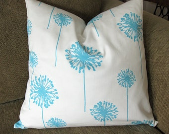 "One Decorative Pillow Cover, 18"" x 18"", Dandelion Print,  in Aqua and White, Zipper Closure, Washable"
