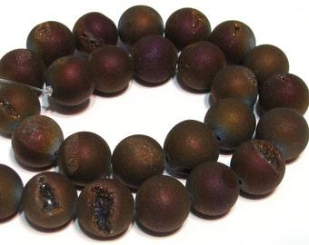 8mm Druzy type round beads purple plum matte titanium coated