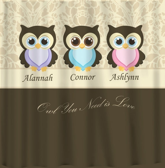Personalized custom owls shared shower curtain various backgrounds