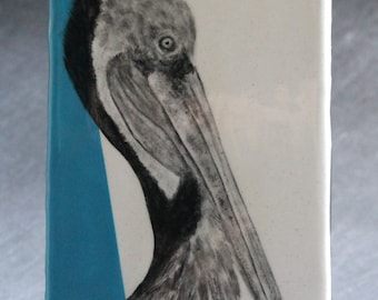 Hand Painted Pelican Portrait Wall Tile Turquoise
