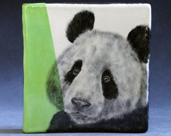 Hand Painted Giant Panda Bear Portrait Wall Tile Chartreuse