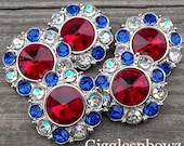 4th of July Rhinestone Buttons 25mm- 5pc Buttons- Headband Supplies- DIY Supplies- Sewing Button- Silver Button- Red, White, and Blue