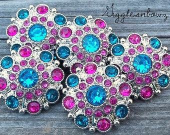 NEW Set of Five LiMITED EDITION Turquoise/ Shocking Pink/ Teal Acrylic Rhinestone Buttons 27mm
