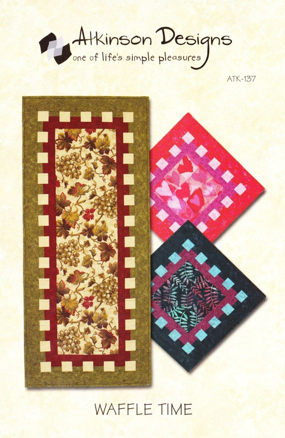Waffle time table runner table topper quilt pattern by for Table runner quilt design