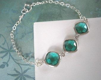 Emerald Green Diamond Bracelet, Silver Bracelet, Bridesmaid Bracelet, Emerald Necklace, Silver Necklace, Green Necklace