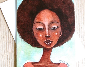 African American/Afro Caribbean Greeting Card - 'She Wanted More'